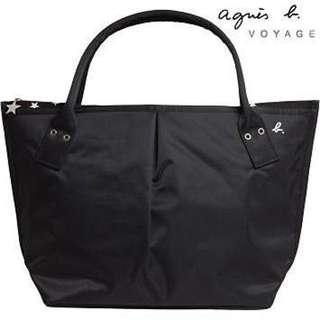 (保留) 日本製 agnes b 黑色水玉點點水餃包 (大)