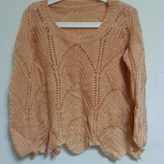 (二手)針織波浪上衣/毛衣