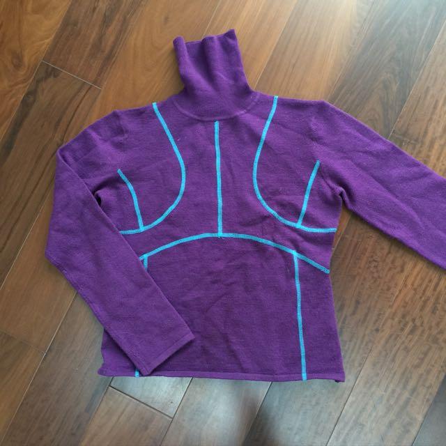 全新紫色套頭羊毛衣