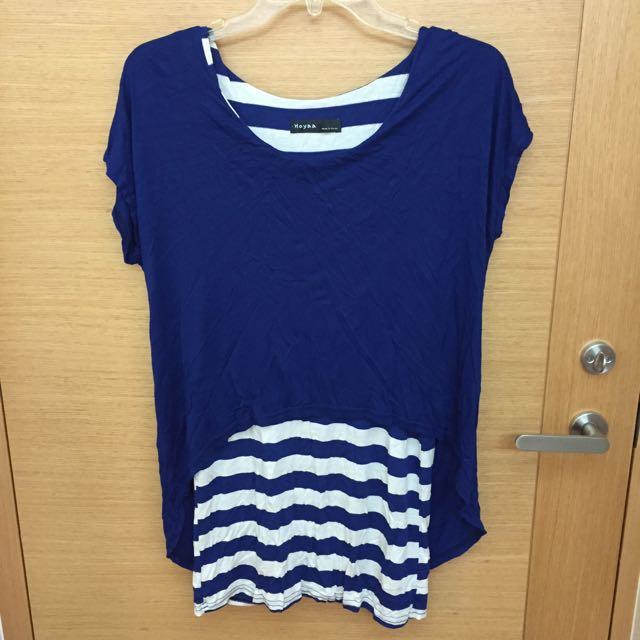 @清媽媽的衣櫃-寶藍條紋假兩件
