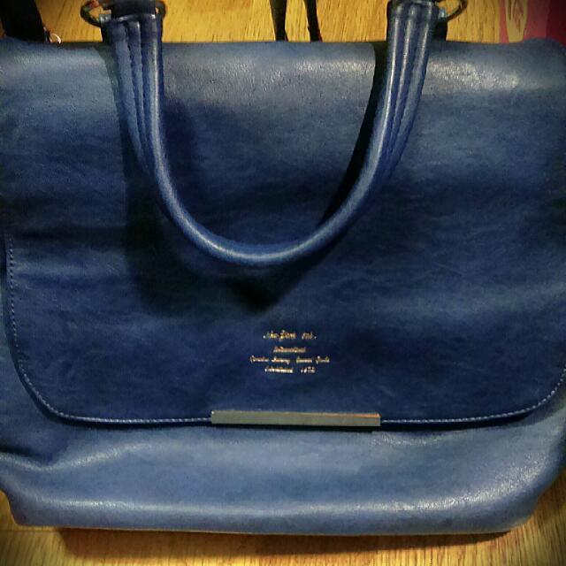 🎒全新深藍手提後背包包👜