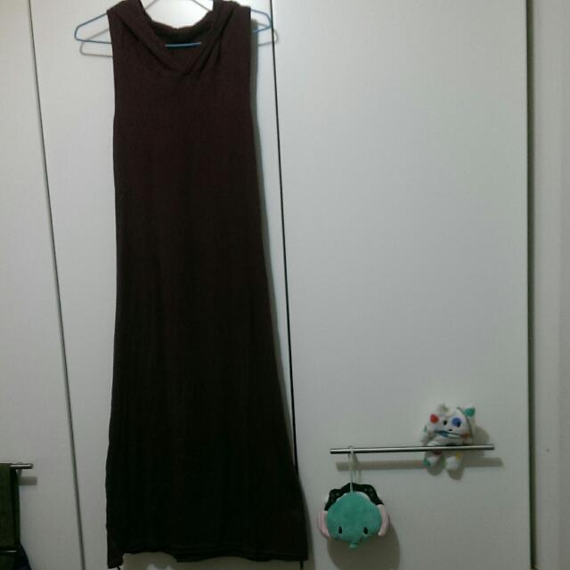 [免運🎉二手]連帽棉質長裙-暗紅