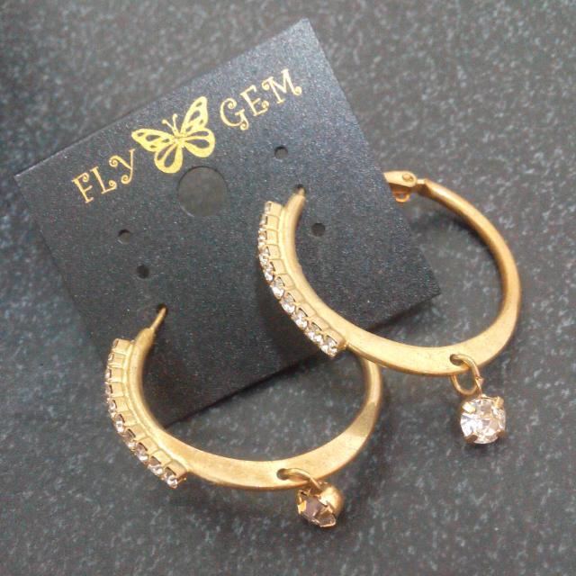 韓貨 水鑽玫瑰金耳環