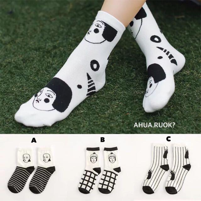 黑色幽默表情圖案襪😎 短襪子 中筒襪 條紋情侶 可愛動物 卡通 復古 搭配 阿華有事嗎