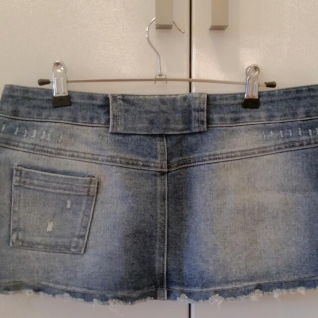 Distressed Denim Mini Skirt - Size S