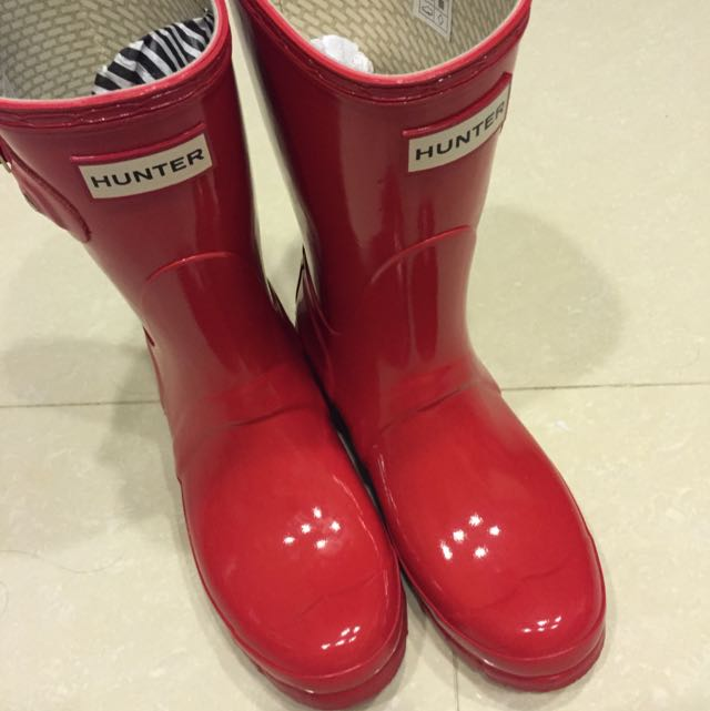 HUNTER 紅色短筒雨靴 UK5
