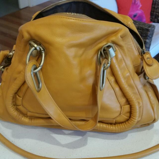 Leather Handbag Yellow. Never Used.