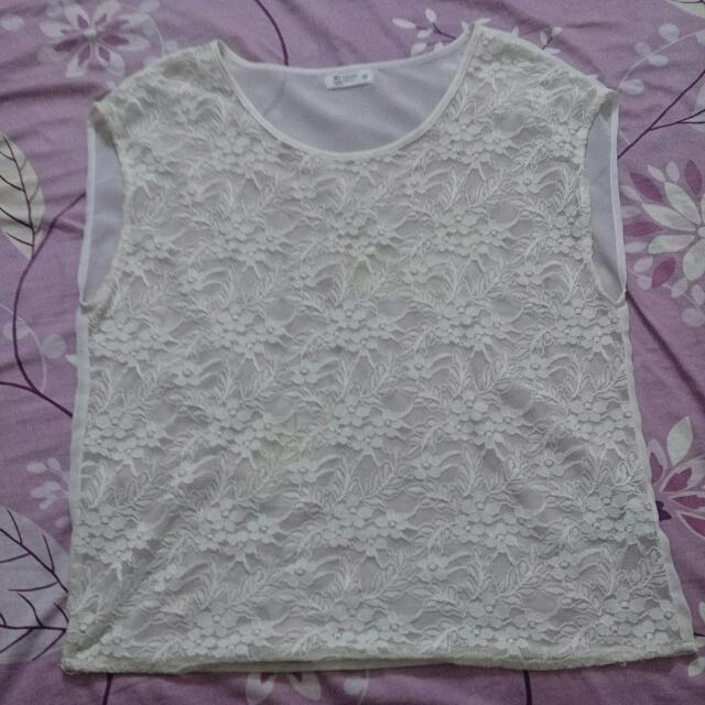 Net 白色蕾絲圓領上衣