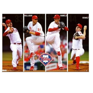 mlb費城人4巨投Roy Halladay, Cliff Lee, Cole Hamels, Roy Oswalt原版海報