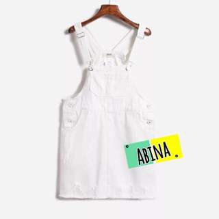 ▪️牛仔刷破吊帶裙👗白色M號 ✨九成新