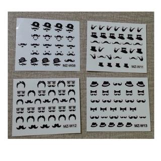 鬍子卓別林造型指甲貼【#08、 #11 、#12 、#13、#16 、#17、#19】