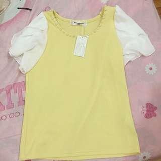全新 Emsexcite鵝黃領口珍珠雪紡袖上衣 480含運