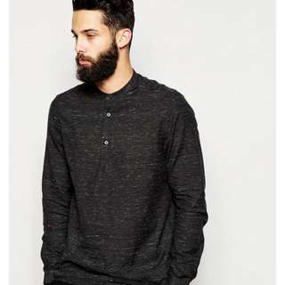 Asos Mens Shirt With Grandad Collar And Nepps