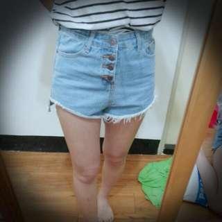 [ 全新 ]前短後長超顯瘦抓破短褲 M