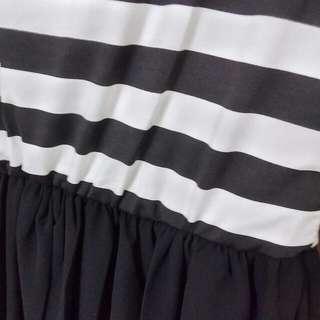 黑白條紋長洋裝