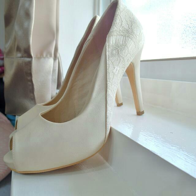 【保留】8.5成新39號Ann's魚口蕾絲高跟鞋含運