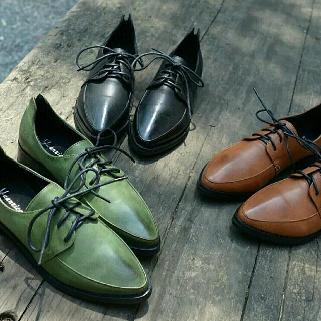 英倫風復古學院尖頭牛津鞋-墨綠