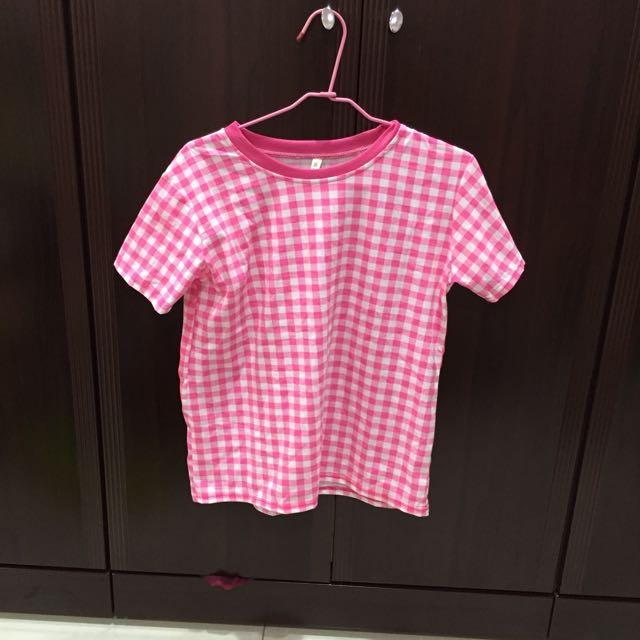 粉紅格子上衣