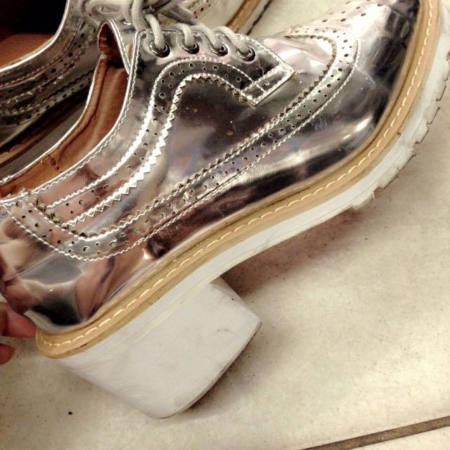 ✨雕花 銀色 牛津鞋
