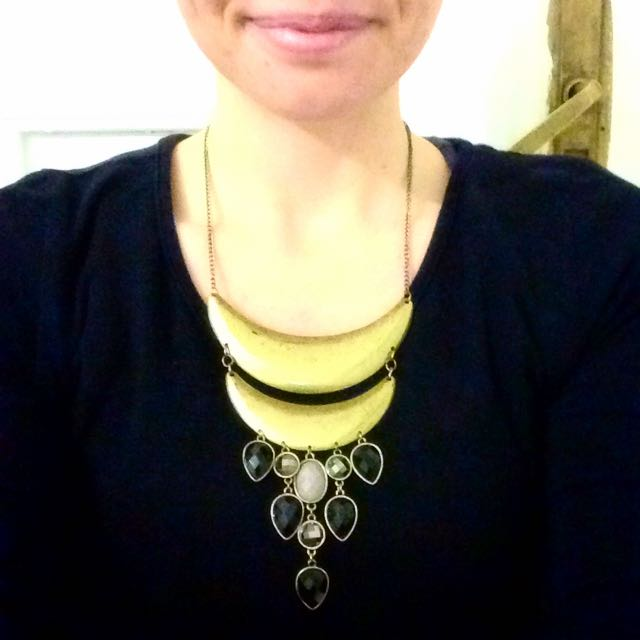 Gold Crescent With Black And Grey Crystal Drops Statement Necklace
