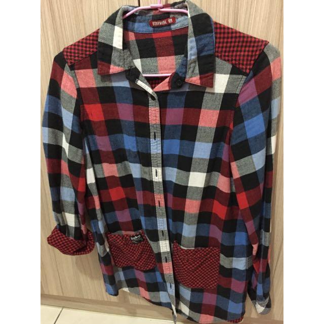 (二手)STAYREAL長版格子襯衫