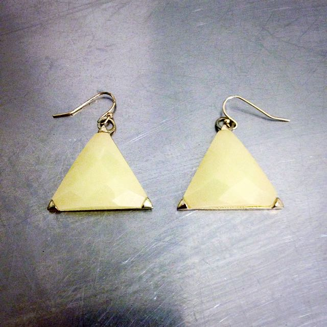 Triangle Cream Stone Earrings