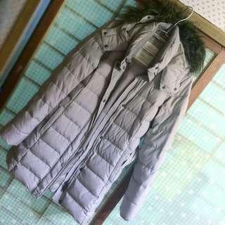 Lativ超保暖羽絨大衣外套-杏色-L號