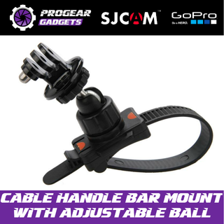 Cable Zip Handle Bar Mount with Adjustable ball - For Gopro Hero, SJCAM, Xiaomi Yi and all Action Cameras