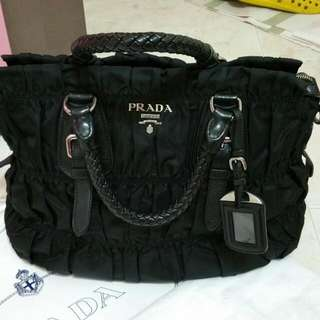 Reserved:Used Prada Tessuto Gaufre With Braided Handles