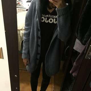 藍色針織保暖外套