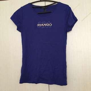 二手Mango水鑽藍T