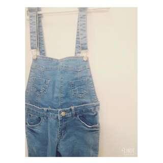 ✌保留✌ 天藍兩用貼腿吊帶褲