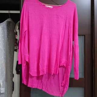 (全新)桃色薄針織上衣