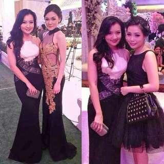 Black Creme Long Party Dress