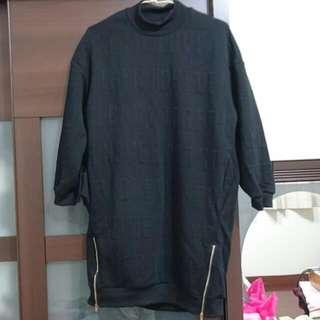 (全新)小高領黑色洋裝