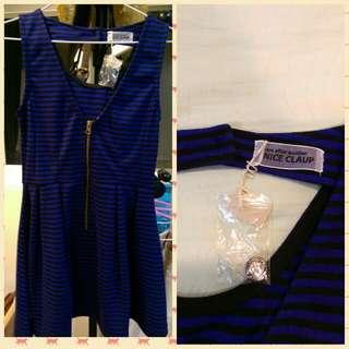 日本 NICE CLAUP 藍色橫條紋小洋裝