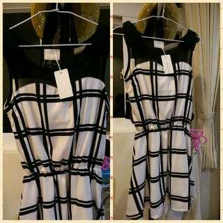 日本 Emsexcite 滑面黑白格子氣質小洋裝