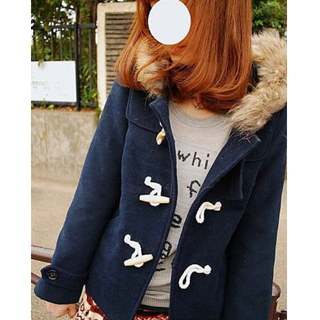 Kashin 卡信自創Original 秋冬必備毛毛可拆超可愛的牛角釦釦大衣 深藍s