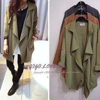 MAIGO ♥ 率性開襟垂領不規則風衣外套綠色