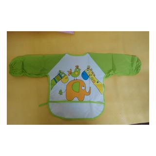 (全新.只有拿出來拍照) 嬰兒 寶寶 幼兒 吃飯衣 大號 防食物掉落袋 綁帶 (綠袖) 新品出清價49元
