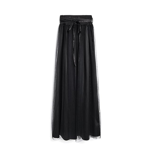 Pazzo緞面綁帶網紗長裙