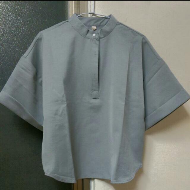立領反褶短袖(灰色)