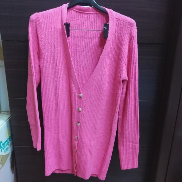 全新,粉紅色毛織長版外套