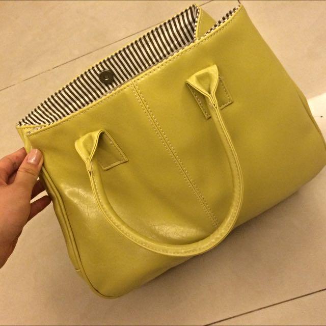 💛天藍小舖黃色夾層方便手提包