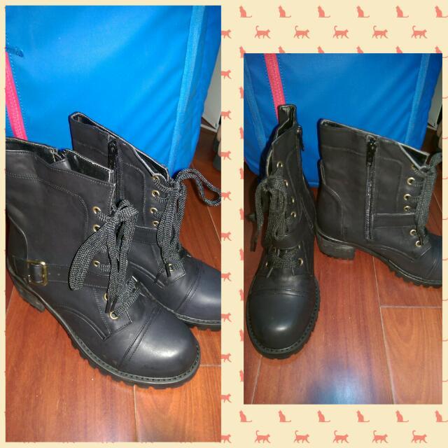 韓國帶回 牛皮帥氣軍靴 工程靴