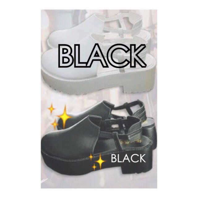 [二手免運💨]百搭厚底包頭粗跟涼鞋 簡單的黑色 韓國來的 23-24