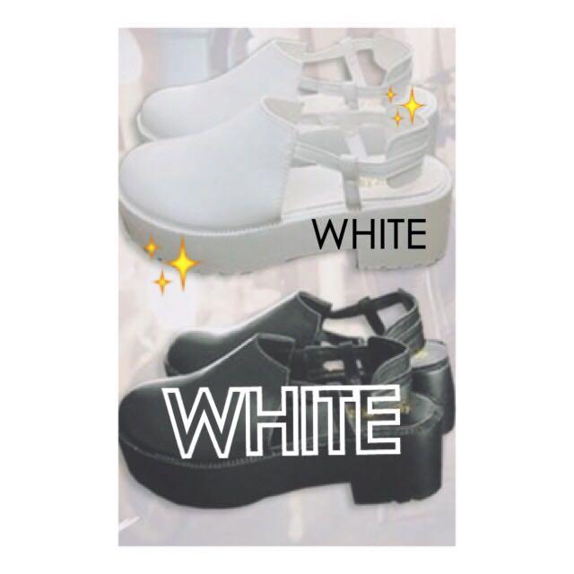 [全新免運💨]百搭厚底包頭粗跟涼鞋 超好搭的白色 韓國來的 23-24