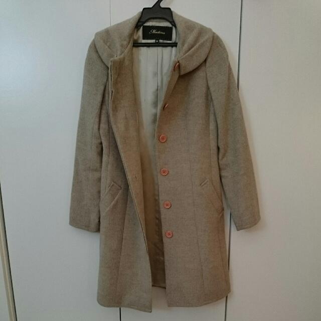 MASTINA 二手 淑女氣質 長版純羊毛大衣 附腰帶