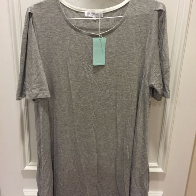 mamagirl寬鬆灰色棉質衫