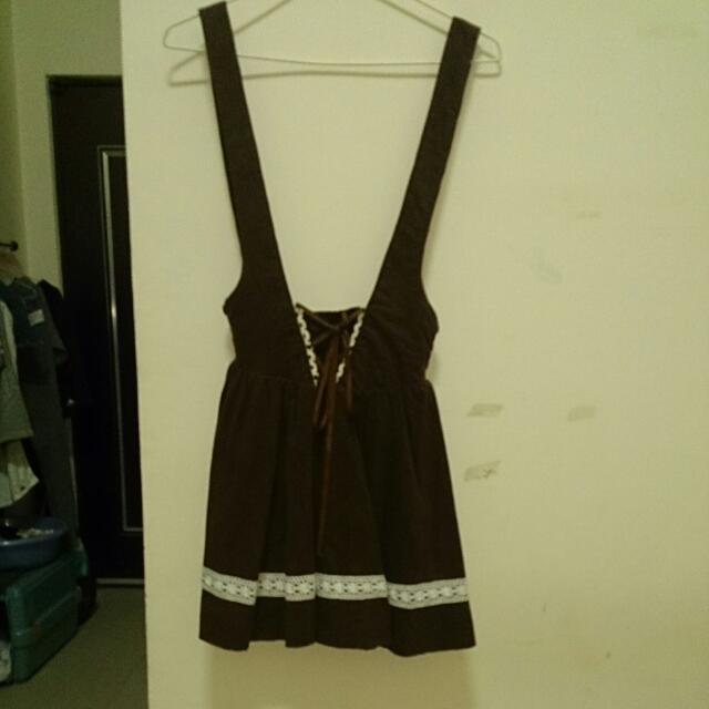 Mussa可愛日系公主風咖啡色吊帶裙